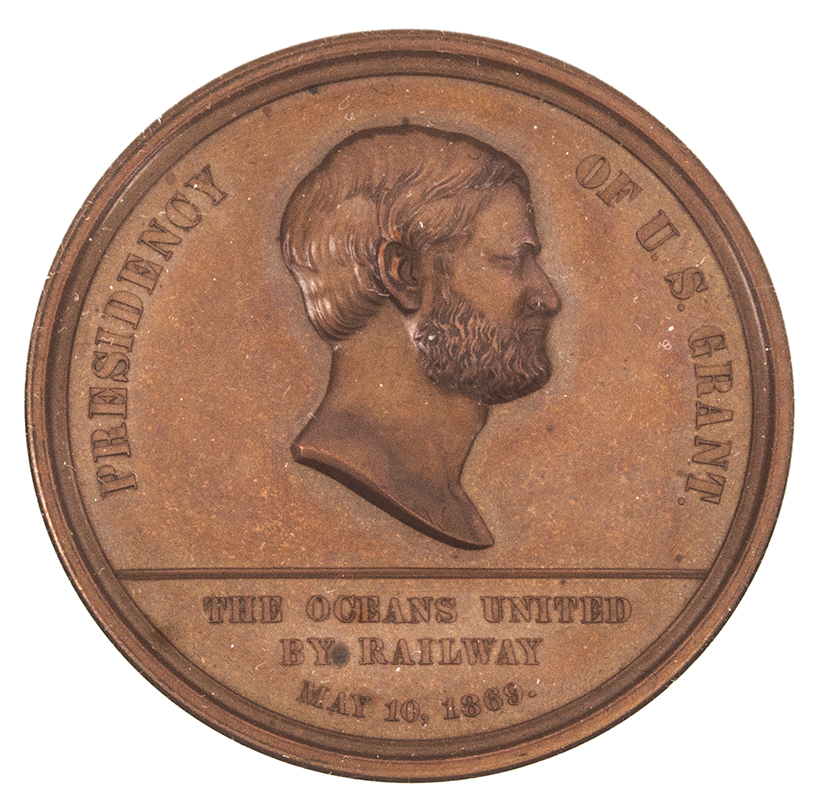 U.S. Mint Medal, 1869 Pacific Railway Completion,     Bronze, By William Barber NGC Certified,side-1