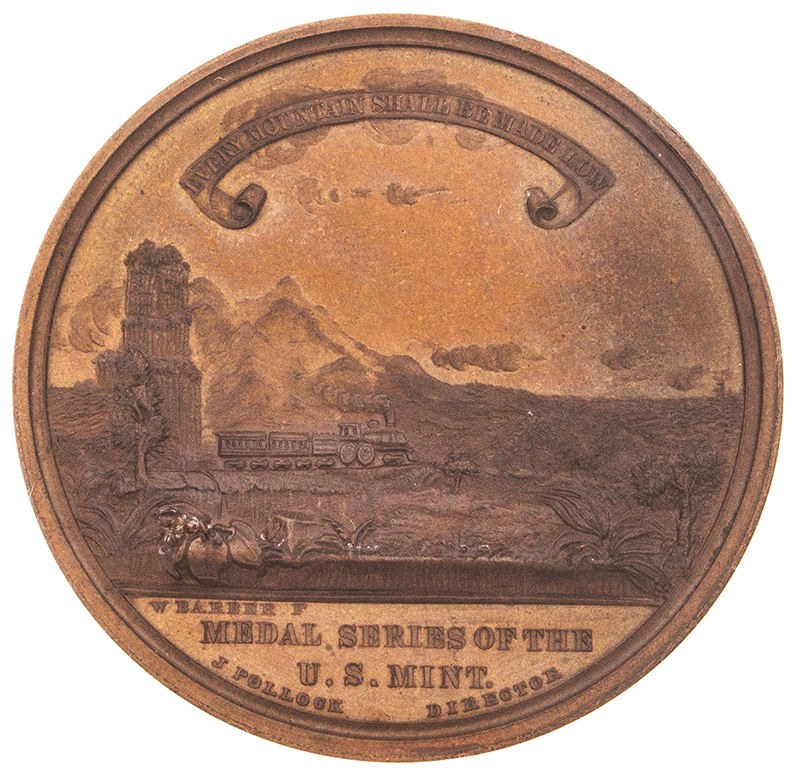 U.S. Mint Medal, 1869 Pacific Railway Completion,     Bronze, By William Barber NGC Certified,side-2