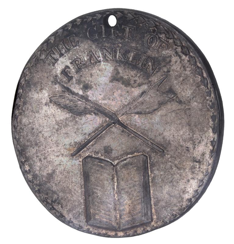 "Benjamin Franklin Silver Boston School Medal Reward of Merit. ""To Alexan Gifford"" Circa 1793 to 1830, side 1"