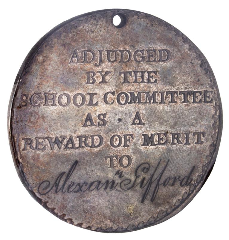 "Benjamin Franklin Silver Boston School Medal Reward of Merit. ""To Alexan Gifford"" Circa 1793 to 1830, side 2"