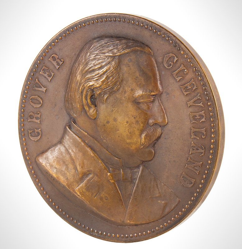 1893 Bronze Inauguration Medal, President Grover Cleveland, Complete Milk Chocolate Color, Struck before 1900, side 1
