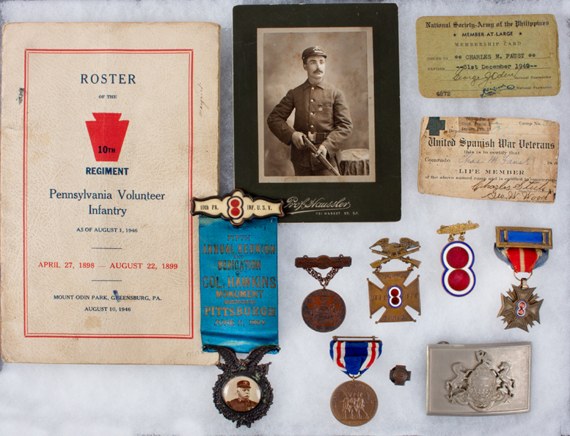 Spanish American War Veteran's Medals & Memorabilia.  Charles M. Faust – Lima, Ohio, entire view
