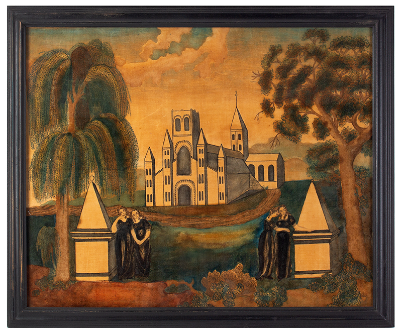19th Century Mourning Picture, Watercolor on Velvet, Schoolgirl  Likely Massachusetts, First Quarter 19th Century Two women stand at each obelisk: each vacant of inscription, entire view