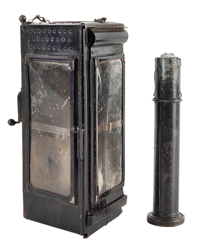 Antique Candle Lantern, Triangular Folding Lamp, Mica Windows, Camping, Parade, Skating  Unknown Maker, circa 1880-1900, entire view 3
