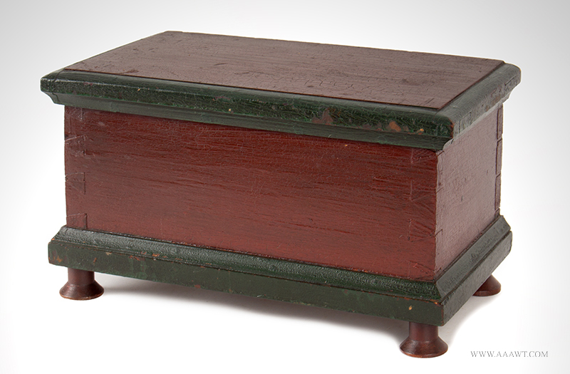 Miniature Blanket Chest, Trinket Box, Original Paint, Reel Spool Feet