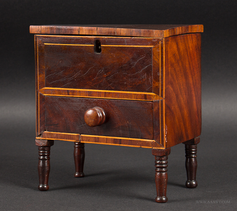 Lift-Top Sugar Chest with Drawer, Miniature, Sheraton Style, Banded and Inlayed Anonymous Maker, angle view