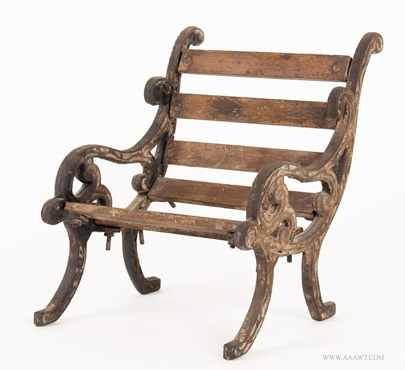 Antique Cast Iron & Wood Miniature Garden Bench