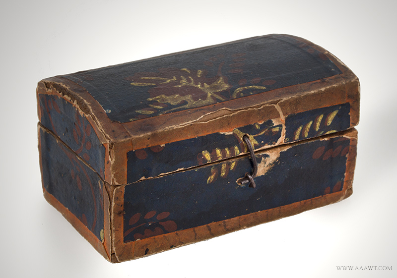 Wallpaper Covered Miniature Dome Top Trunk, Rare Colors & Overlaid Papers