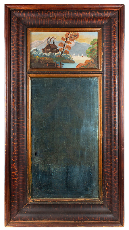 Early Empire Mirror, Paint Decorated Ogee Molded Frame
