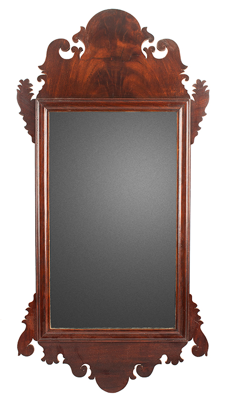 Antique Mirror, Chippendale Looking Glass, Retaining Label of Earps & Co., Philadelphia, Pennsylvania, entire view