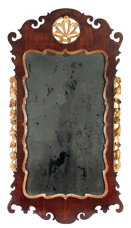 Period Queen Anne Mirror, Elaborate Looking Glass, Pierced Crest, Parcel Gilt Possibly American, circa 1750-1780, entire view