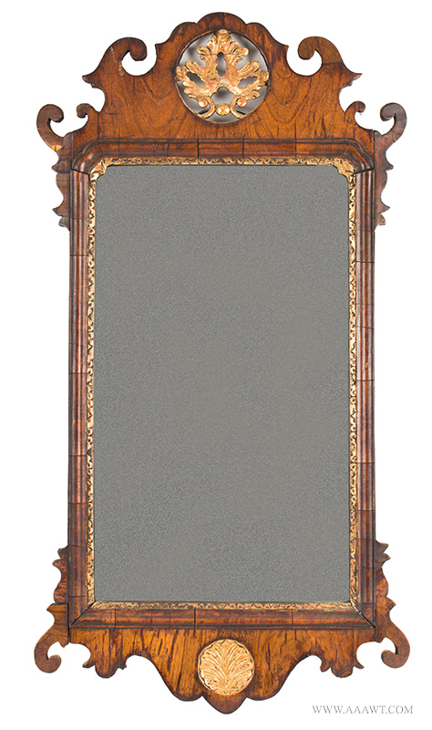 Mirror, Queen Anne Looking Glass, Pierced Scroll Crest, Parcel Gil