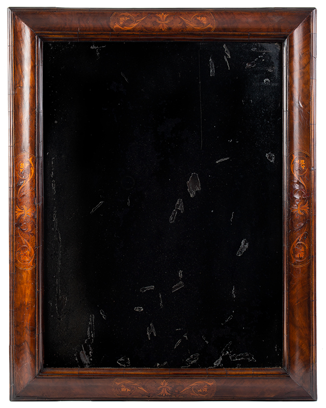 18th Century Mirror – Wall, Queen Anne, Marquetry Inlay, Beveled Plate England, circa 1710-1730, entire view