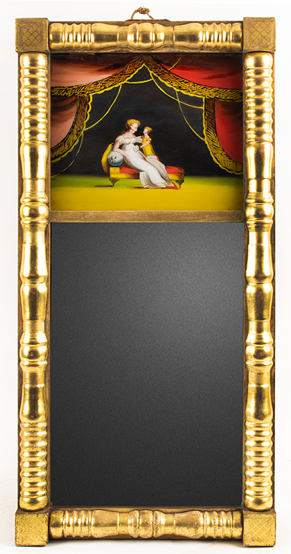 Federal Giltwood Split Column Mirror, Reverse Painted Tablet, James Todd Portland, Maine, Circa 1820-1825 Best gilding and eglomise panel attributed to Charles Codman Remarkable original condition…, entire view