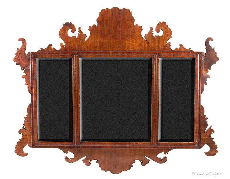 Period Chippendale Mirror, Tripartite, Beveled Plates Unknown Maker, 18th Century, entire view
