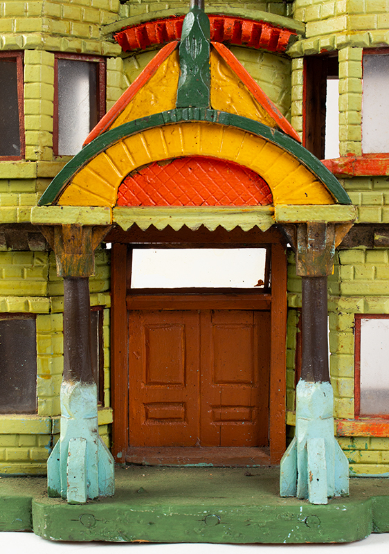 Antique Architectural Model, Great Paint & Sculptural Aesthetic Anonymous, found in Council Bluffs, Iowa Wonderful Overstated Queen Anne Architectural Wimsey, doorway detail