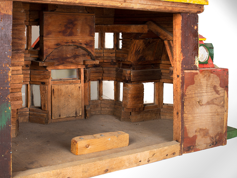 Antique Architectural Model, Great Paint & Sculptural Aesthetic Anonymous, found in Council Bluffs, Iowa Wonderful Overstated Queen Anne Architectural Wimsey, interior detail 2