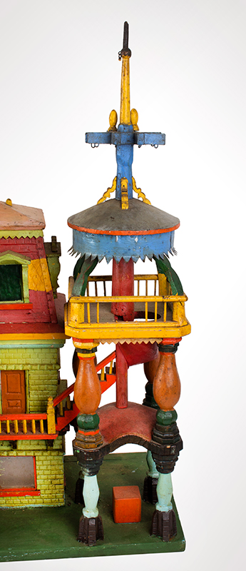 Antique Architectural Model, Great Paint & Sculptural Aesthetic Anonymous, found in Council Bluffs, Iowa Wonderful Overstated Queen Anne Architectural Wimsey, tower detail