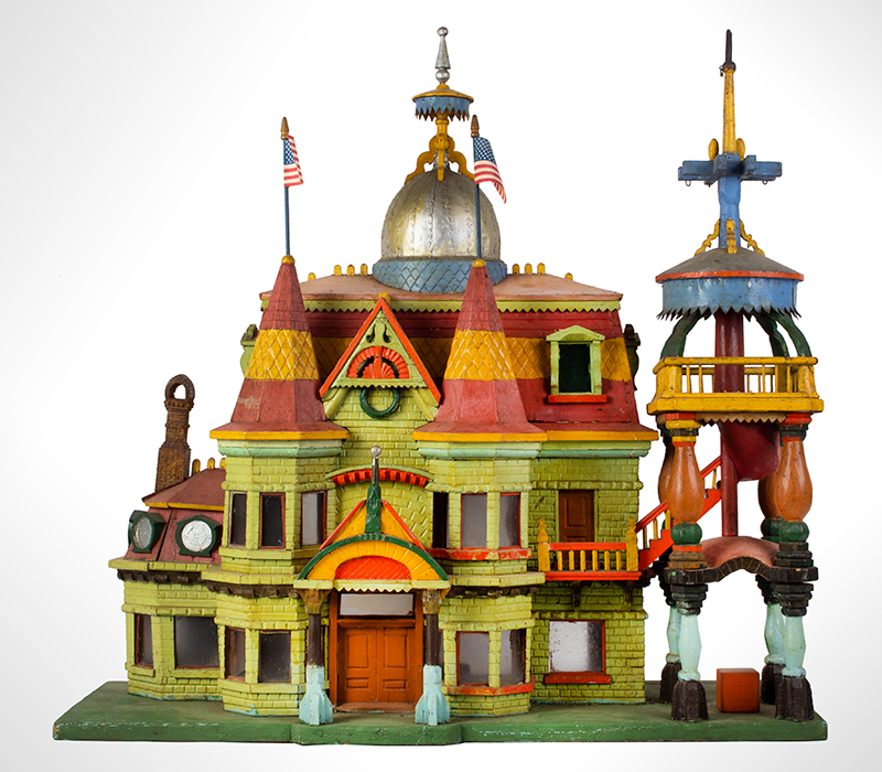 Antique Architectural Model, Great Paint & Sculptural Aesthetic Anonymous, found in Council Bluffs, Iowa Wonderful Overstated Queen Anne Architectural Wimsey, entire view 1