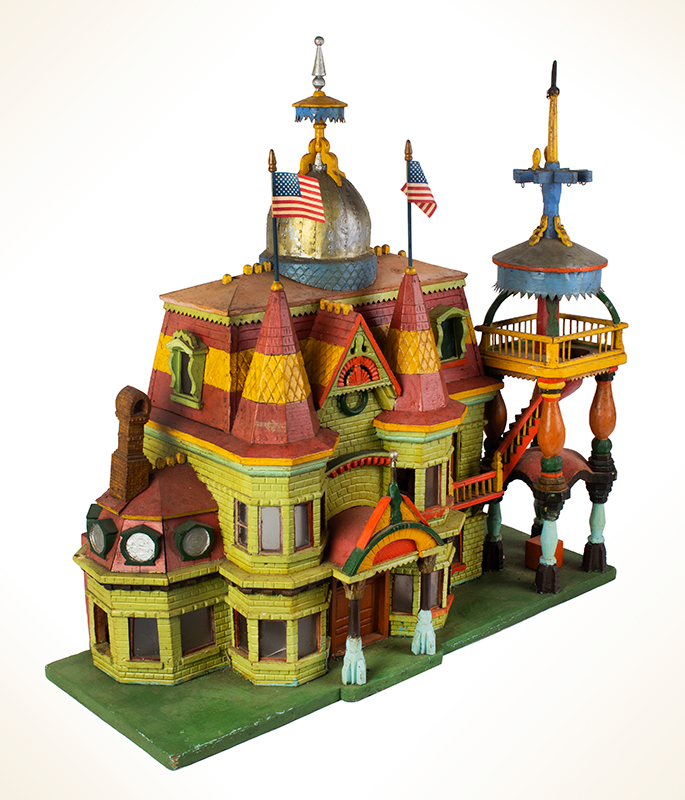 Antique Architectural Model, Great Paint & Sculptural Aesthetic Anonymous, found in Council Bluffs, Iowa Wonderful Overstated Queen Anne Architectural Wimsey, entire view 2
