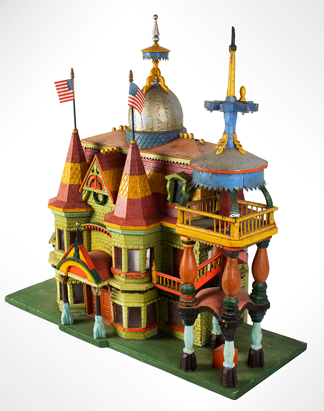 Antique Architectural Model, Great Paint & Sculptural Aesthetic Anonymous, found in Council Bluffs, Iowa Wonderful Overstated Queen Anne Architectural Wimsey, entire view 3