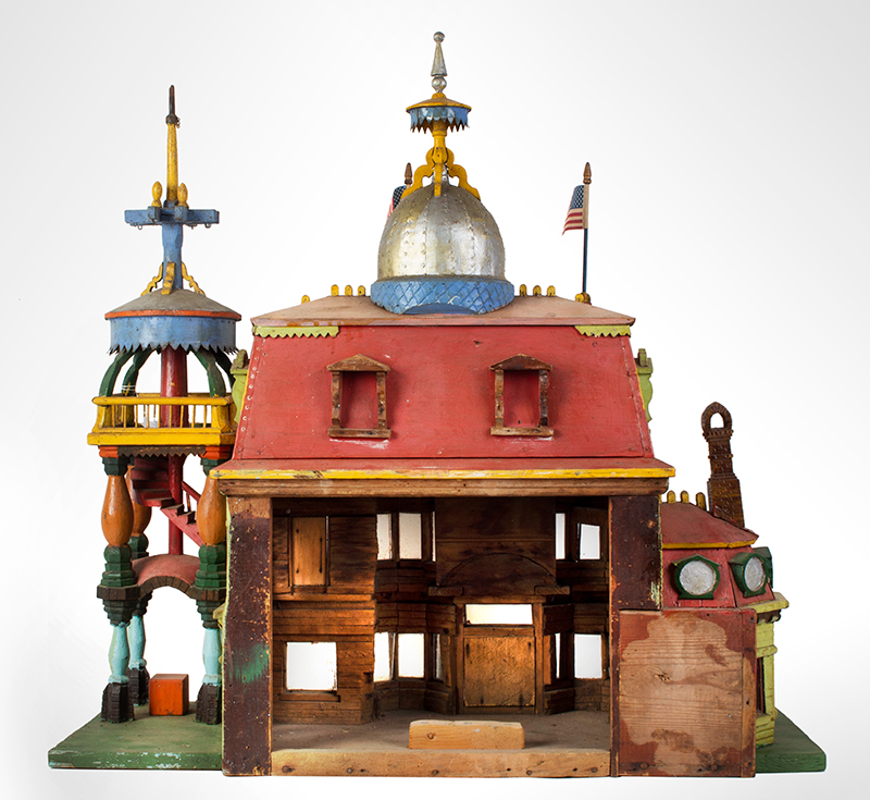Antique Architectural Model, Great Paint & Sculptural Aesthetic Anonymous, found in Council Bluffs, Iowa Wonderful Overstated Queen Anne Architectural Wimsey, entire view 4