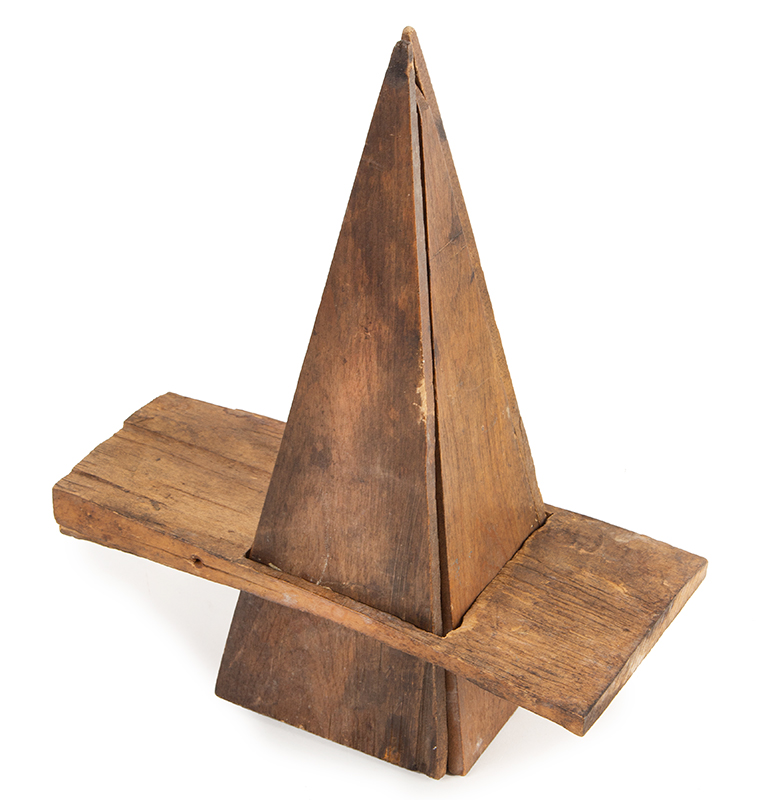 Antique Maple Sugar Mold, Pyramidal Shape,Scratch Carved Unknown Maker, 19th Century