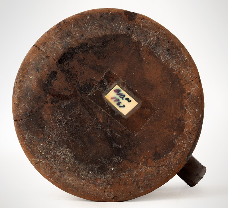 Antique Redware Mug, Large, Concave & Incised Sides Could be Mid-Atlantic or New England, Circa 1800-1840, bottom view