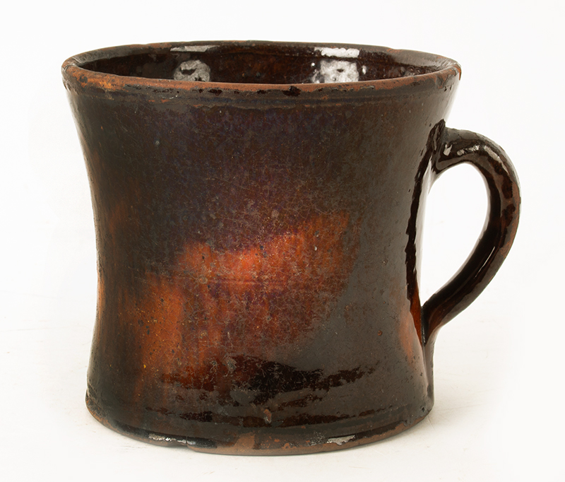 Antique Redware Mug, Large, Concave & Incised Sides Could be Mid-Atlantic or New England, Circa 1800-1840, entire view 1