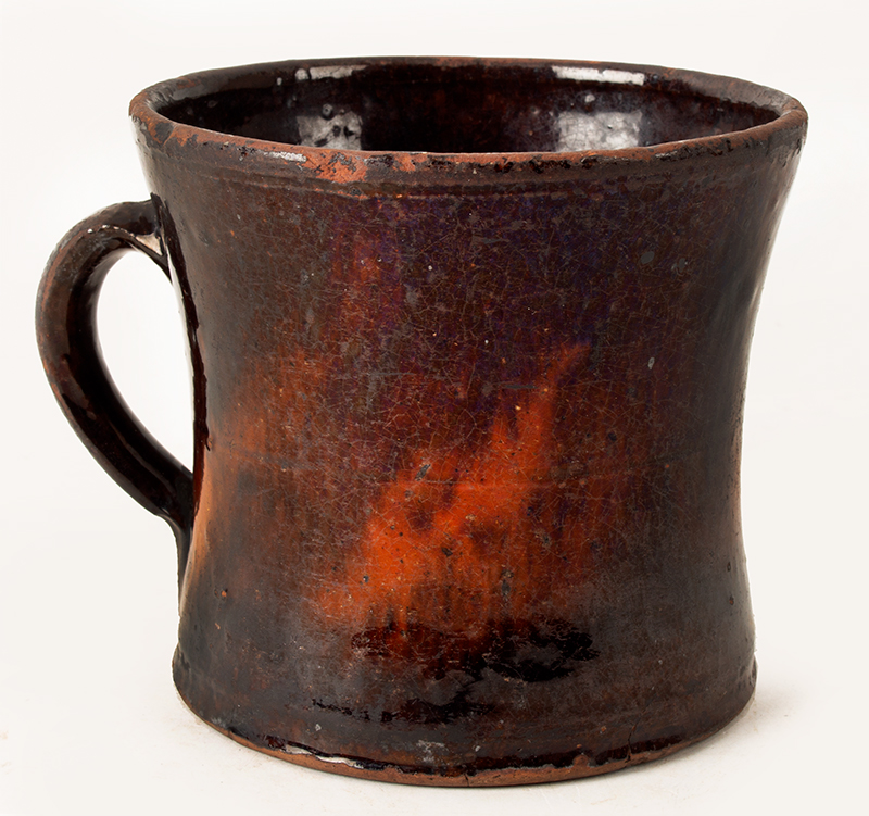 Antique Redware Mug, Large, Concave & Incised Sides Could be Mid-Atlantic or New England, Circa 1800-1840, entire view 2