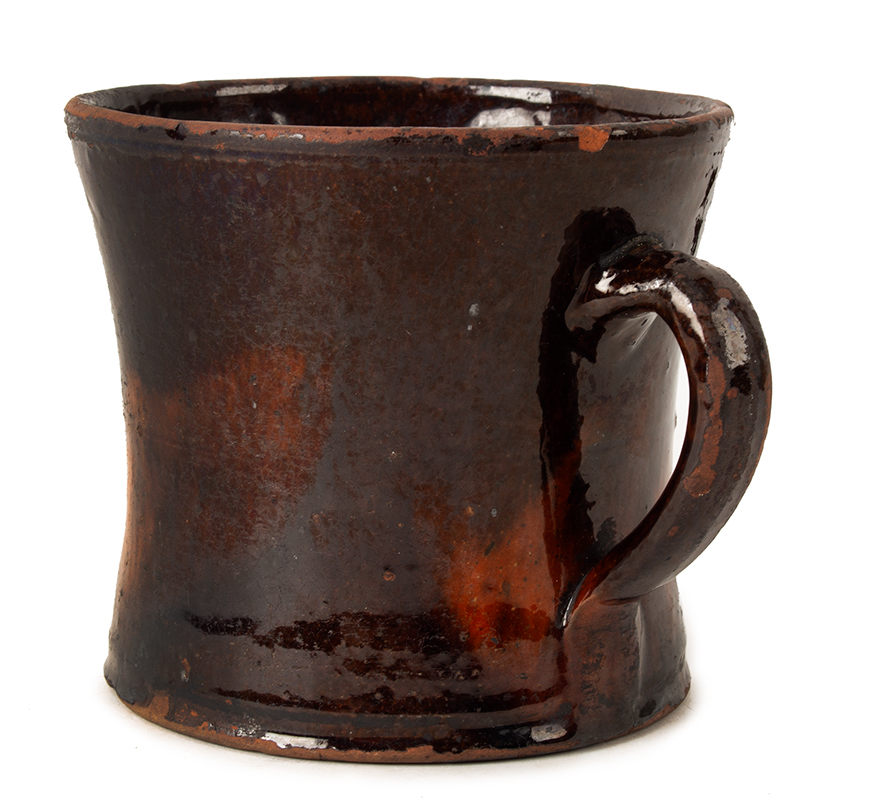 Antique Redware Mug, Large, Concave & Incised Sides Could be Mid-Atlantic or New England, Circa 1800-1840, entire view 3