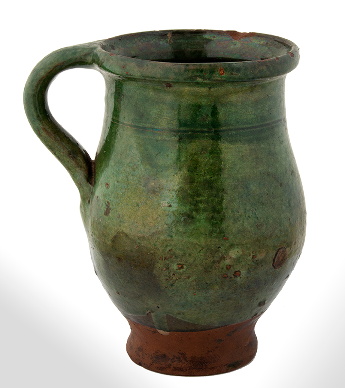 Redware Tulip Shape Mug, Copper Oxide Green Glaze Likely French, circa 1820, entire view 1