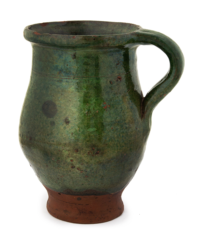 Redware Tulip Shape Mug, Copper Oxide Green Glaze Likely French, circa 1820, entire view 2