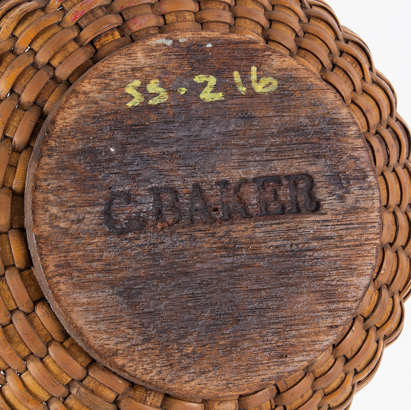 Antique Nantucket Lightship Basket, Small Likely circa 1880-1900 Oak, ash, and rattan, bottom view