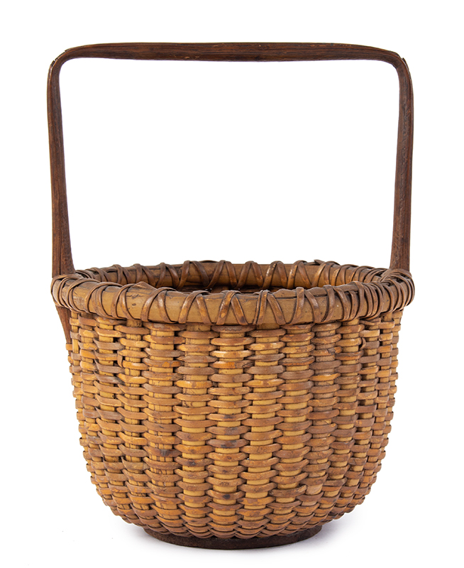 Antique Nantucket Lightship Basket, Small Likely circa 1880-1900 Oak, ash, and rattan, entire view 1