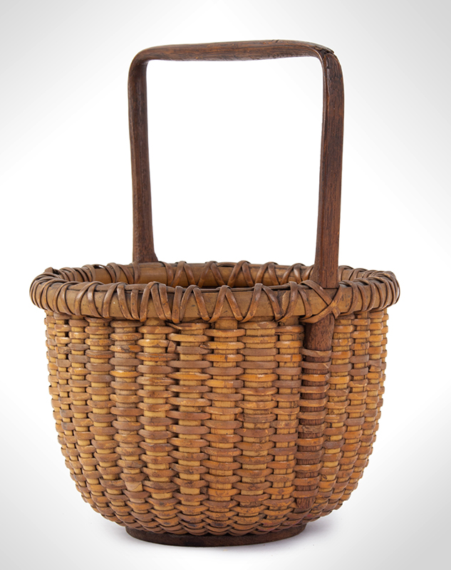 Antique Nantucket Lightship Basket, Small Likely circa 1880-1900 Oak, ash, and rattan, entire view 2