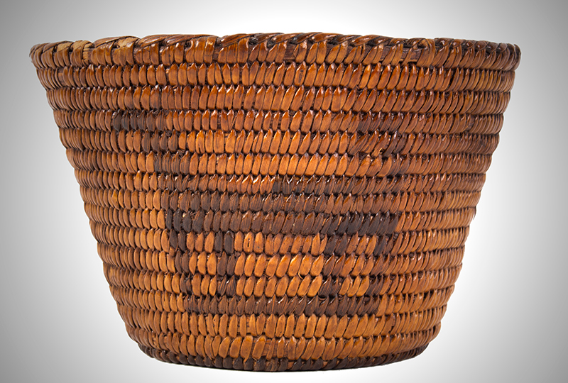 Native American Basket, Pima, Figural Bowl Southwest, circa 1900 Willow and devils' claw, entire view 1