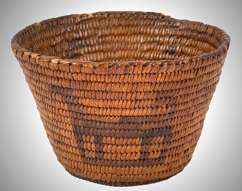 Native American Basket, Pima, Figural Bowl Southwest, circa 1900 Willow and devils' claw, entire view 2