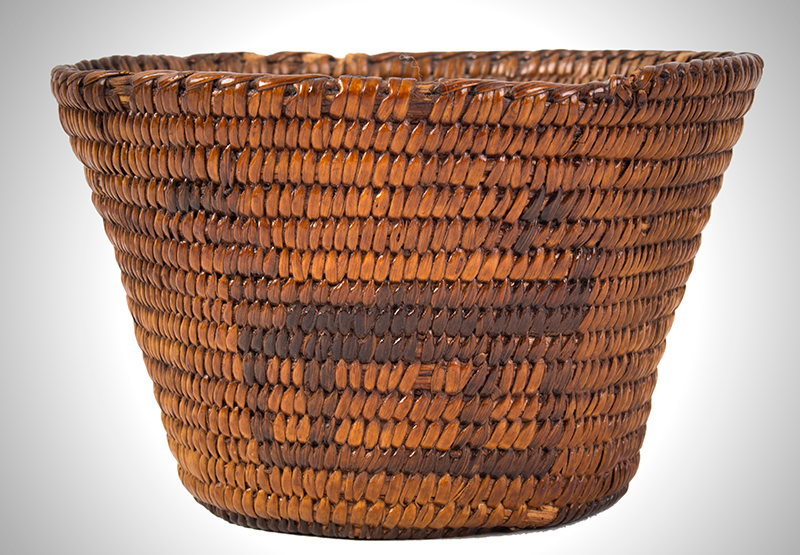 Native American Basket, Pima, Figural Bowl Southwest, circa 1900 Willow and devils' claw, entire view 3