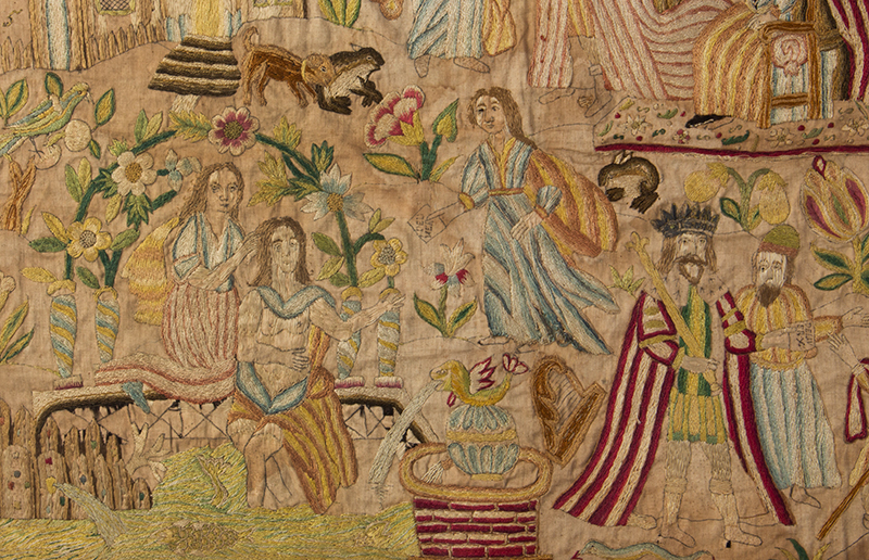 Needlework Picture Dated 1715 Depicting the Story of David and Bathsheba Silk on silk, detail view 1