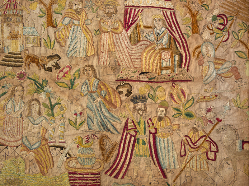 Needlework Picture Dated 1715 Depicting the Story of David and Bathsheba Silk on silk, detail view 2
