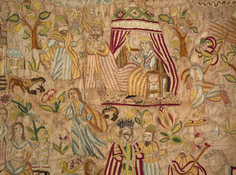 Needlework Picture Dated 1715 Depicting the Story of David and Bathsheba Silk on silk, detail view 3