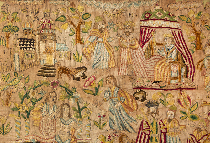 Needlework Picture Dated 1715 Depicting the Story of David and Bathsheba Silk on silk, detail view 4