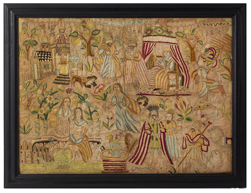 Needlework Picture Dated 1715 Depicting the Story of David and Bathsheba Silk on silk, entire view