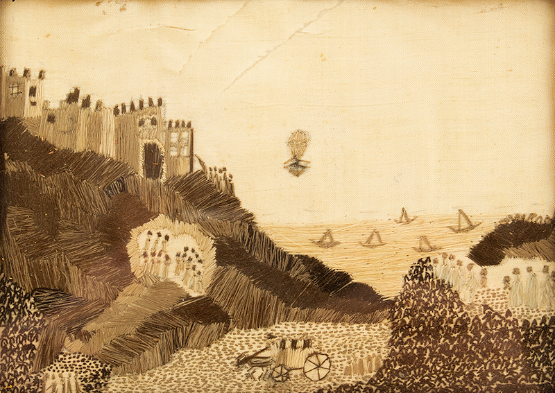 Antique Silk on Silk Needlework, Dover Castle, Balloon to Calais, January 1785 The First Crossing of the English Channel by Air, entire view sans frame