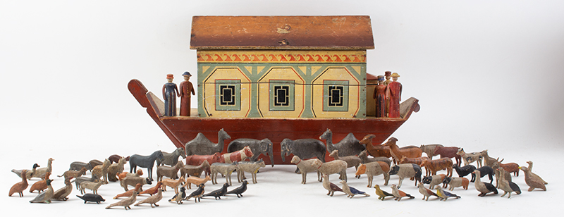 Noah's Ark, Nicely Painted Germany, Late 19th C. A desirable display size with 75 passengers, entire view