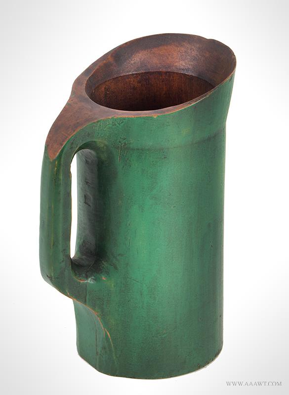 Noggin Pitcher, Wooden Ware, Cutout Handle, Flaring Rim & Spout, Green Paint