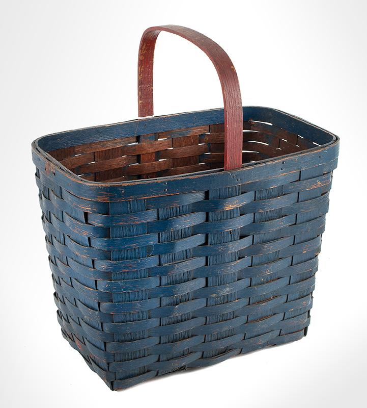 Oak Splint Basket, Original Blue, Red Handle
