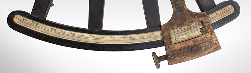 19th Century Octant, Spencer, Browning & Rust) Case with label of DeMORY GRAY, New York SECOND HAND [sic] INSTRUMENTS BOUGHT AND SOLD, detail view 1