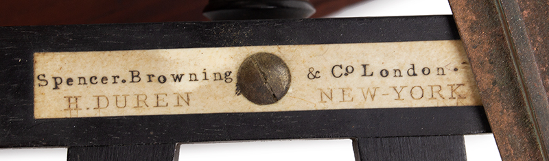 19th Century Octant, Spencer, Browning & Rust) Case with label of DeMORY GRAY, New York SECOND HAND [sic] INSTRUMENTS BOUGHT AND SOLD, detail view 2